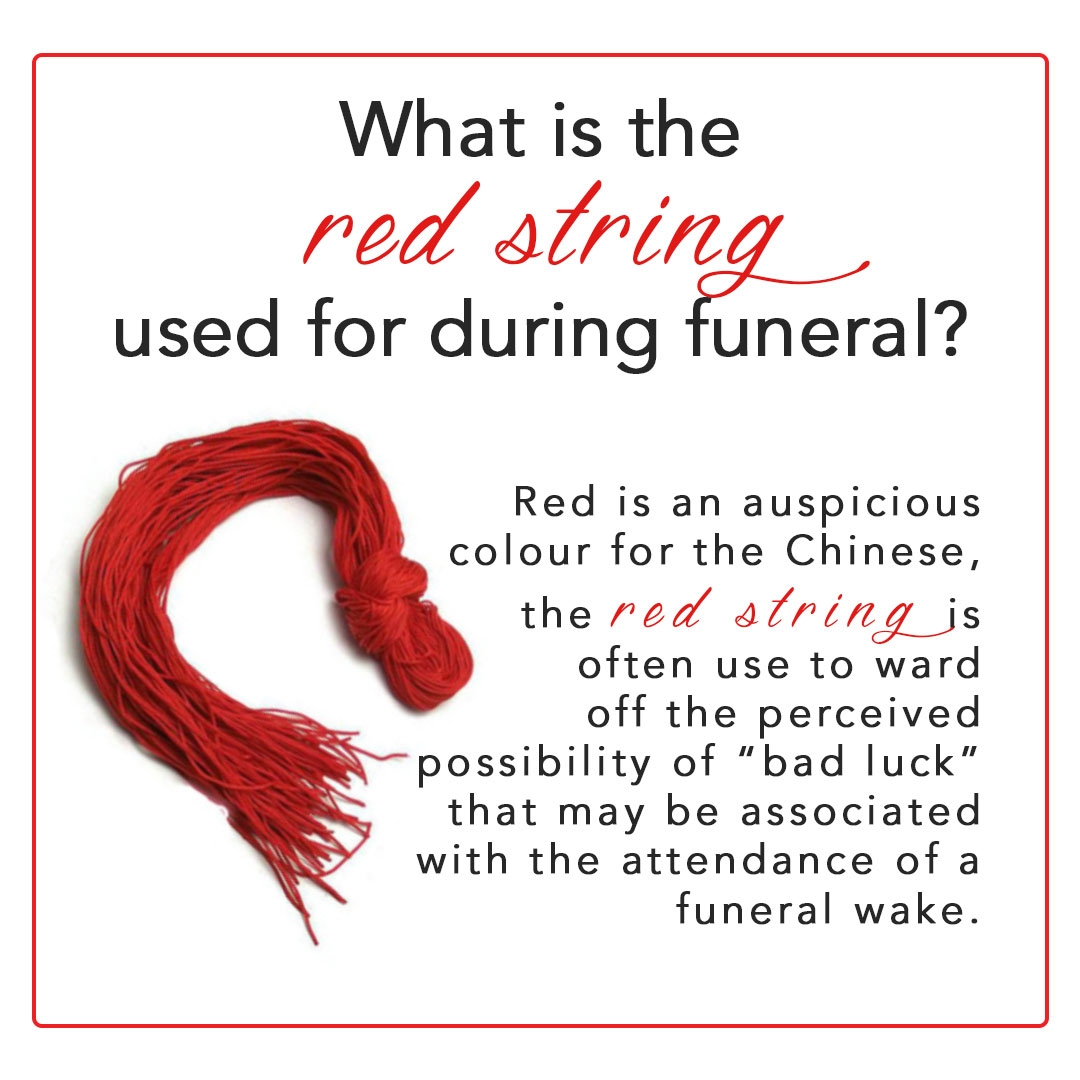 What is the red string used for during funeral?